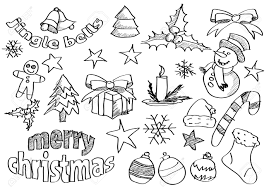 abstract sketched christmas icons and symbols royalty free
