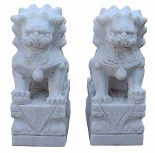 small foo dogs small pair distressed white marble fengshui foo