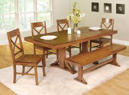 Long White Dining Table by Country Style Dining Room Sets With Long Table And Single Bench