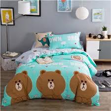 papa u0026mima cartoon style teddy bear green duvet cover set 3pcs soft