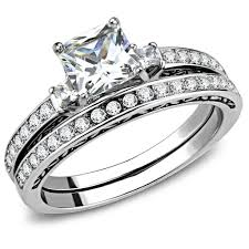 square style rings images Womens 6x6mm square cz center luxury style stainless steel wedding jpg