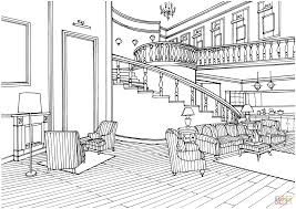 classic decor large living room with stairs coloring page free