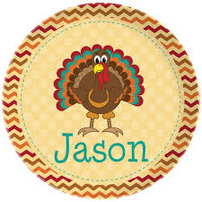 buy personalized adorable turkey plate gift for