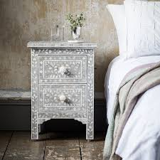 classic mother of pearl bedside drawers in grey