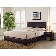 Leather Upholstered Bed Stratus Queen Upholstered Bed Brown Faux Leather Walmart Com