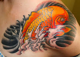 small koi fish tattoo on back shoulder in 2017 real photo