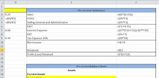 Excel Balance Sheet And Income Statement Template Excel Tutorial Pro Forma Statement And Afn Definition
