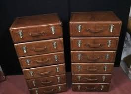 English Campaign Desk Pair Leather English Campaign Chest Drawers Colonial Tall Boys