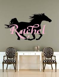 name wall decal initial and name with horse vinyl wall