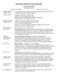 What Is A Traditional Resume Example Of Chronological Resume Resume Sample Picture