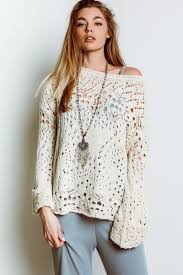 people traveling lace sweater in ivory
