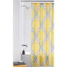 Grey And Yellow Shower Curtains Mainstays Yellow Damask Shower Curtain Walmart