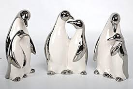 set 3 white silver ceramic penguin ornaments co uk