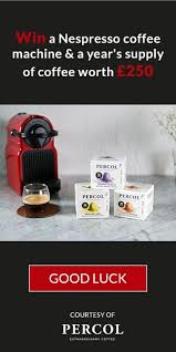 nespresso siege win a nespresso coffee machine a year s supply of percol coffee