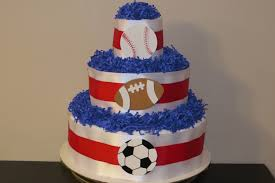 sports theme diaper cake for boy or baby shower gift or