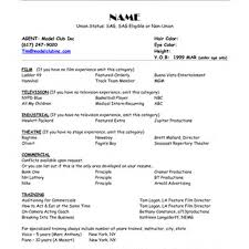 Sample Resume For Professional Acting Model Resume Template
