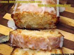 lemon white chocolate pound cake with a lemon honey glaze from