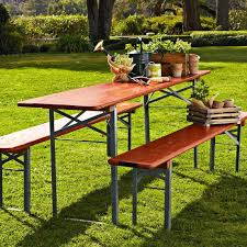 german beer garden table and bench vintage biergarten table williams sonoma