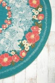 Round Flower Rugs Round Teal Rug Foter