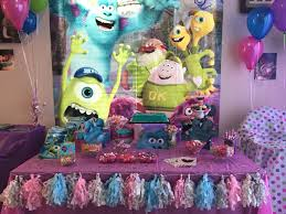 Halloween Birthday Party Ideas Pinterest by Baby Girls First Birthday Monsters Inc Goodie Table For Girls