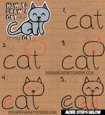 How To Draw Halloween Things Step By Step How To Draw A Cat From The Word Cat Simple Step By Step Drawing