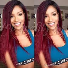 root drag hair styles 2 tones ombre burgundy red synthetic lace front wig silk straight