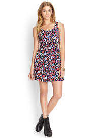 fit and flare dress forever 21 forever 21 floral fit flare dress in lyst
