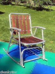 Vintage Aluminum Folding Chairs Vintage Redwood Cedar Slat Aluminum Frame Folding Rocking Rocker