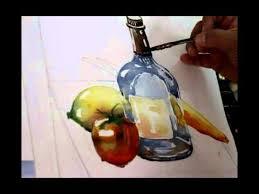 water color tutorial still life glass bottle lemon tomato