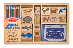 amazon com melissa u0026 doug wooden stamp set animals 16 stamps