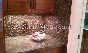 Impressive Pebble Backsplash  Pebble Tile Kitchen Backsplash - Pebble backsplash