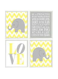 Gray And Yellow Nursery Decor Elephant Nursery Chevron Wall Gray Yellow Nursery