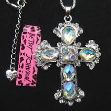 glass cross necklace images Betsey johnson white glass crystal cross pendant sweater necklace jpg