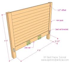 How To Build Bed Frame And Headboard Diy Bed Frame And Wood Headboard A Of Rainbow