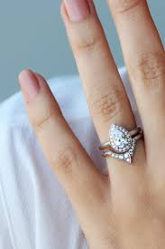 shaped wedding ring pear shaped engagement ring with matching side