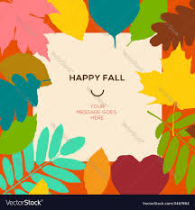 Thanksgiving Leaf Template Happy Fall Template With Autumn Leaves And Simple Vector Image