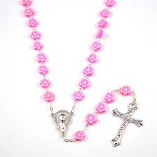 pink rosary fashion catholic rosary with pink flower polymer clay flat bead