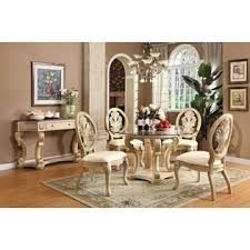 Acme  Pc Coronado Collection White Wash Finish Wood Round Glass - Round glass top dining room table