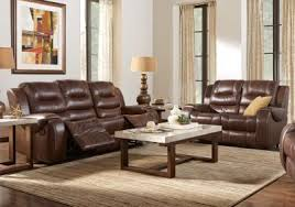 Coffee Table Rooms To Go Veneto Brown Leather 5 Pc Living Room Leather Living Rooms Brown