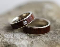 wooden wedding ring sets ipe wood ring etsy