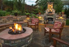 fire pit in backyard rounded shapes design fire pit ideas pave stone design ideas half
