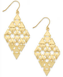Chandelier Earrings Earrings Lyst Lauren By Ralph Lauren Gold Tone Triangle Chandelier