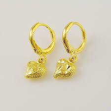 design of gold earrings with design 2015 new design high quality 24k yellow gold colou heart dangle