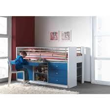 lit avec bureau coulissant lit compact 90x200 garçon avec bureau coulissant blanc et bleu