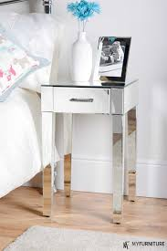 bedroom end table decor furniture mirrored accent table with one drawer on wooden floor and