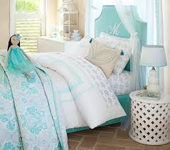 turquoise bed and headboard