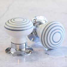 mortice glass door knobs unique home accessories homeware and decor white and grey stripe