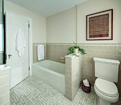 rustic half bath bathroom traditional with basketweave tile retro
