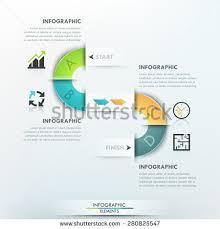 modern infographics process template 4 paper stock vector