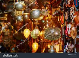 selection traditional lamps on moroccan market stock photo